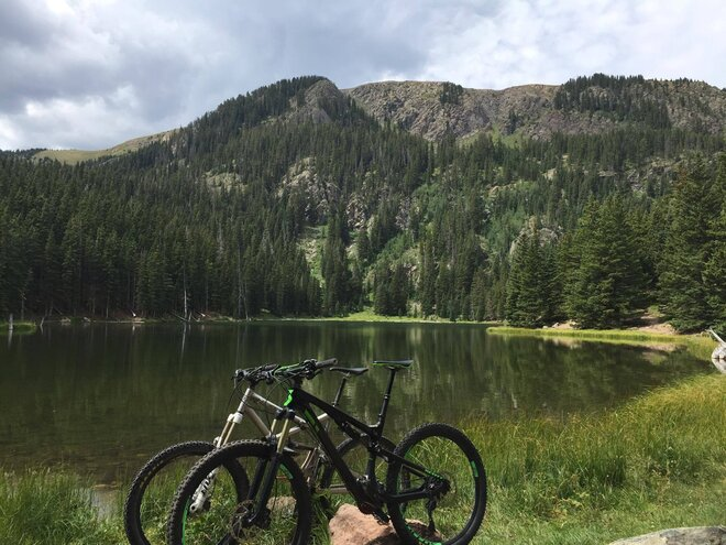 lake with mountain bike